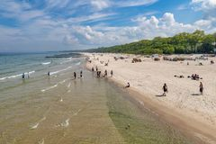 Free Kolobrzeg, Zachodniopomorskie / Poland - May, 21, 2019: Pier In A Holiday Resort By The Sea. A Place Of Rest In Central Europe Stock Photography - 148274772