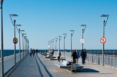 Kolobrzeg Poland, touristic landmark jetty on sunny day Royalty Free Stock Image