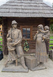 Kolochava,乌克兰- 2016年4月18日:对村民的纪念碑-民工 图库摄影