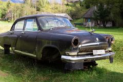 Old Volga car black color, produced in the Soviet Union Stock Image