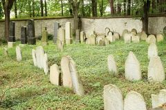 Kolodeje nad Luznici, Czech republic - June 26 2018: Jewish cemetery. Headstones royalty free stock photo