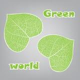 Ökologiekonzept mit Herzen des grünen Blattes Stockfotografie