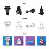 Kolom, meester met tekening, brug, indexkegel Pictogrammen van de architectuur de vastgestelde inzameling in zwarte, vlak, de vec Royalty-vrije Stock Afbeelding