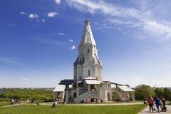 Kolomenskoe in een dag van de Zondaglente Kerk van de Beklimming Moskou, Stock Foto