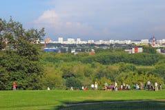 Kolomenskoye park. Many people walk in the park. Stock Photo