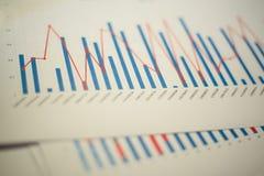 Kolomgrafiek op een wit blad van document wordt gedrukt dat Stock Afbeeldingen