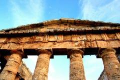 Kolommen, de Griekse tempel van Segesta, Sicilië Stock Fotografie