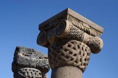 Kolommen de tempel bij van Zvartnots (hemelengelen), Armenië stock foto's