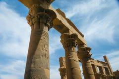Kolommen in de Tempel van Philae, Tempel van ISIS royalty-vrije stock afbeelding