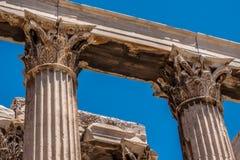 Kolommen in de Tempel van Zeus, Athene, Griekenland Stock Afbeeldingen