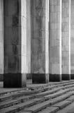 Kolommen en stappen in zwart-wit stock foto