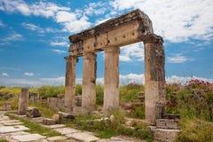 Kolommen in Hierapolis Royalty-vrije Stock Foto's