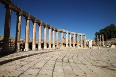 Kolommen in Jerash, Jordanië stock foto