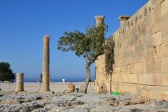 Kolommen op hellenistic stoa van de Akropolis van Lindos, Rhodos, Griekenland, Blauwe hemel, olijfboom en mooie overzeese mening  Stock Afbeelding