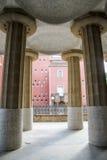 Kolommen in Park Guell, Barcelona, Spanje Stock Foto