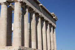 Kolommen in Parthenon Stock Foto's
