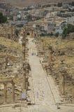 Kolommen van cardomaximus, Oude Roman stad van Gerasa van Antiquiteit royalty-vrije stock afbeelding