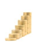 Kolommen van gouden geïsoleerder muntstukken Royalty-vrije Stock Foto's