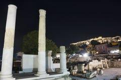 Kolommen van Hadrian Library in Akropolis Stock Afbeeldingen