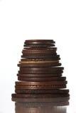Kolommen van muntstukken die op witte kleur worden geïsoleerdt Royalty-vrije Stock Foto's