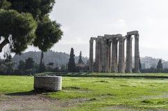 Kolommen van Olympian Zeus in Athene Stock Fotografie