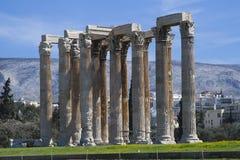 Kolommen van Olympian Zeus Temple, Athene, Griekenland Royalty-vrije Stock Foto's