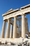 Kolommen van Parthenon in Akropolis Stock Afbeelding