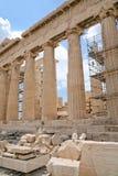 Kolommen van Parthenon, Akropolis, Athene, Royalty-vrije Stock Fotografie