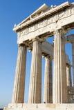 Kolommen van Parthenon in Atheense Akropolis Royalty-vrije Stock Foto