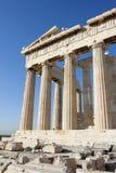 Kolommen van Parthenon-tempel in Atheense Akropolis Royalty-vrije Stock Afbeeldingen