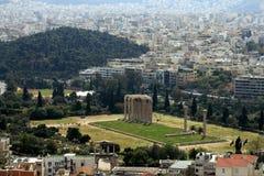 Kolommen van Zeus tempel, Athene Stock Foto's