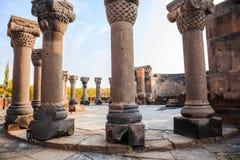 Kolommen in Zvartnots-Kathedraal royalty-vrije stock afbeelding