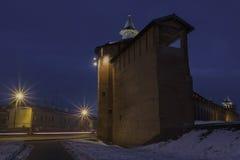 Kolomna克里姆林宫在晚上 免版税库存照片