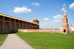 kolomna克里姆林宫塔墙壁 库存图片