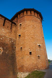 Kolomna克里姆林宫墙壁的塔 库存照片