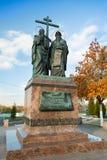 Kolomna,俄罗斯- 2017年10月22日:对西里尔和方法的纪念碑 图库摄影