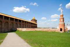 Kolomna kremlin, wall and tower Stock Images