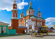 KOLOMNA, RUSSIA - MAY 03, 2014: Horse-drawn carriages (omnibus). In Kolomna Kremlin - Russia - Moscow region Royalty Free Stock Photo