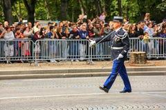 KolonelMilitary parade van Nationale Gendarmerie ( Defile) tijdens plechtig van Franse nationale D royalty-vrije stock fotografie