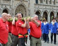 Koloni av Meyboom ceremoni i Bryssel Arkivfoto