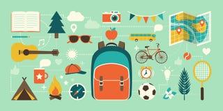 Koloni, semestrar och barndomsymboler royaltyfria foton