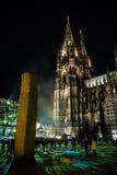 Kolonia Niemcy, Styczeń, - 16, 2017: Lekka instalacja wokoło cologne katedry Obrazy Royalty Free