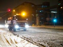 KOLONIA NIEMCY, Styczeń, - 23, 2019: Ulicy Kolonia zakrywali w śniegu fotografia stock