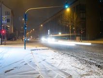 KOLONIA NIEMCY, Styczeń, - 23, 2019: Ulicy Kolonia zakrywali w śniegu zdjęcia stock