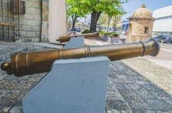 Koloniaal kanon bij de ingang van de Conde-poort in de koloniale streek van Santo Domingo stock fotografie