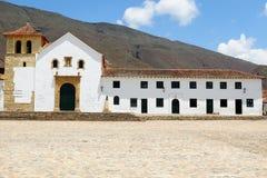 Kolonial stad Villa de Leyva i Colombia som är en turist- dragning royaltyfri fotografi