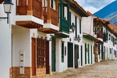 Koloniala byggnader i Villa de Leyva Fotografering för Bildbyråer