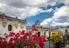 Koloniala byggnader och blommor - Antigua, Guatemala Royaltyfri Bild