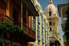 Kolonialarchitektur in Cartagena stockbild