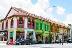 Kolonialarchitektur nahe arabischer Straße, Singapur Lizenzfreies Stockfoto